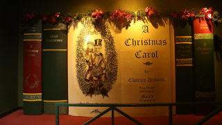 Photo of a display for A Christmas Carol performance