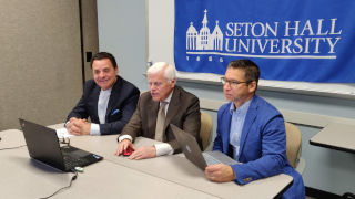 Seton Hall faculty conducting a video lecture