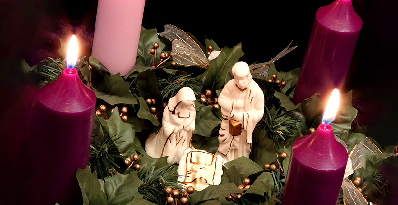 Advent Wreath with a Nativity Scene