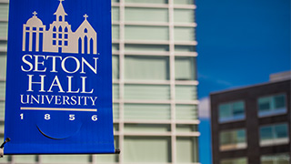 Seton Hall banner hanging from pole x320