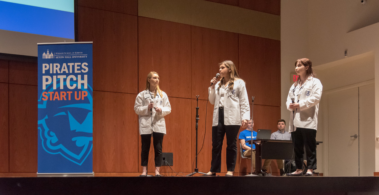 Nursing students presenting at the 2019 Pirates Pitch Competition.