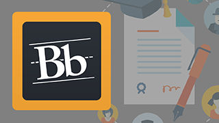 Blackboard program image containing the Blackboard logo an uppercase and a lowercase letter